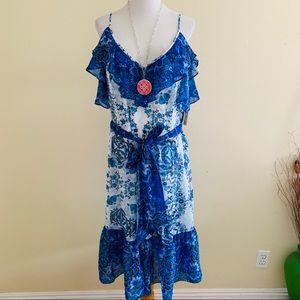 Eliza J Plus Size Flounce Dress Blue Floral